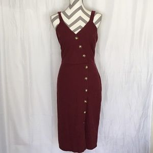 Burgundy body con dress